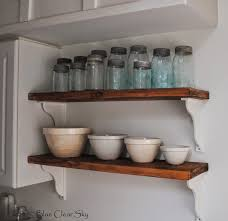 rustic maple new stained shelves in our kitchen