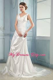 long v neck ruched taffeta court train wedding bridal gown