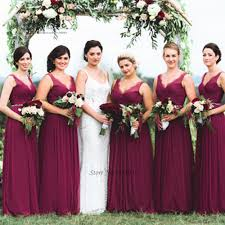 burgundy bridesmaid dresses long vestido de festa de casamento v