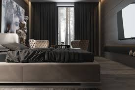use dramatic dark hues in the master bedroom for a cozy winter dark purple and black bedroom ideas grey headboard bed red covered bedding traditional bedside table wooden