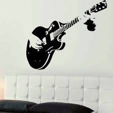 aliexpress com buy large guitar guitarist wall art decal mural aliexpress com buy large guitar guitarist wall art decal mural sticker stencil vinyl cut transfer living room home decor from reliable home decor