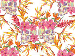 halloween textures seamless summer tropical pattern with skulls and exotic flowers