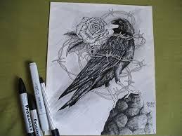 my raven barbed wire sketch 24x30 cm size u2014 steemit
