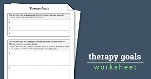 therapy goals worksheet therapist aid