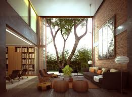 Brown Themed Living Room by Wonderful Nature Inspired Living Room Brick Stone Wall Brown Comfy