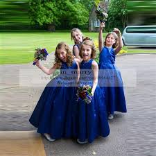 royal blue long satin flower girls dresses special occasion 2016