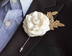 gold boutonniere gold leaf satin burned flower mens boutonniere buttonhole for