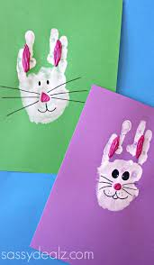 bunny rabbit handprint craft for kids easter idea easter art