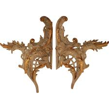 exceptional set of 2 18th century rococo wood carved gilt