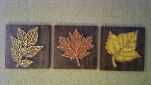 3 panel fall leaves nail and string art