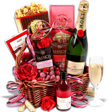 anniversary gift basket an evening of indulgence s day gift basket flowers
