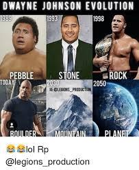 Dwayne Johnson Meme - dwayne johnson evolution 1989 1998 pebble stone rock today 2030 2050