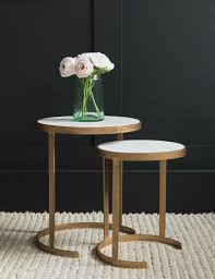 Brass Side Table Cecily Nesting Brass Marble Side Tables At Grey