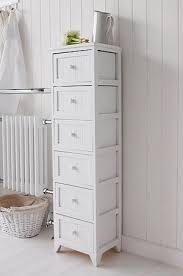 Thin Bathroom Cabinet by Free Standing Slim Bathroom Cabinet With 5 Drawers White Cottage
