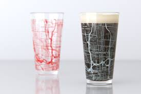 Map Oh Ohio by Columbus Oh Ohio State College Town Map Pint Glass Set