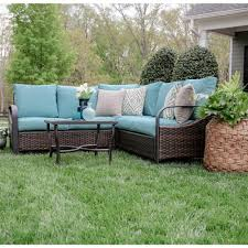 Resin Wicker Patio Furniture Reviews - trenton 4 piece wicker outdoor sectional set with tan cushions