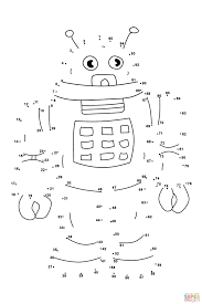 robot dot to dot free printable coloring pages