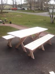Building Plans For Picnic Table Bench by Picnic Table With Detached Benches 9 Steps With Pictures