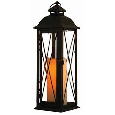 metal lantern patio lights smart design siena 16 in antique brown led lantern with timer