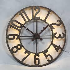 london large round steampunk industrial back illuminated wall clock