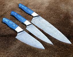 cold steel kitchen knives 3 pcs full tang custom made damascus steel exotic sheet wood