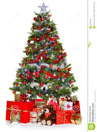 christmas tree and presents isolated on white royalty free stock
