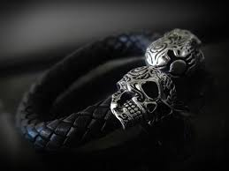 haiyan skull leather cuff white leather bracelet for s1ck