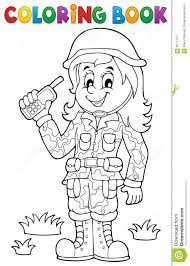 coloring book female soldier theme 1 stock vector image 66711377