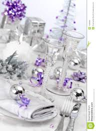 purple u0026 silver themed table setting stock images image 11656864
