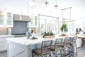 Gray Glass Tile Backsplash by Grey Kitchen Cabinets With Subway Tile Backsplash Grey Kitchen