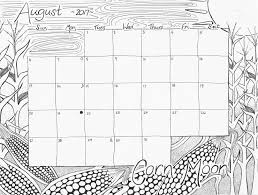 august 2017 calendar coloring page u201ccorn moon u201d u2013 studio inkcycle