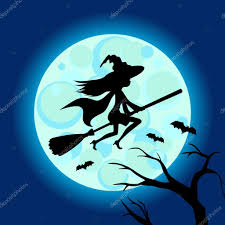 halloween illustration of mysterious night sky with witch fly on