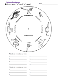 dinosaur word wheel printable worksheet enchantedlearning com