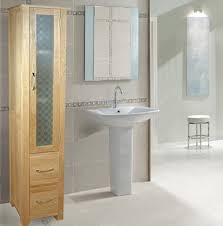 baumhaus mobel oak 35 x 180cm free standing tall bathroom cabinet