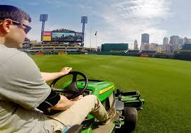 the intricate art of mowing patterns into a baseball field