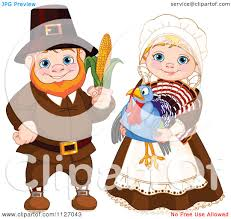 no turkey thanksgiving cartoon of a happy pilgrim man holding corn and woman holding a