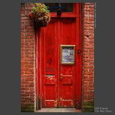 decorations shabby chic red doors with red bricked wall look
