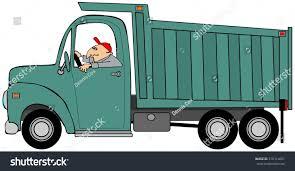 illustration man driving large dump truck stock illustration