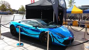 wrapped lamborghini lamborghini gallardo 2011 avery blue chrome wrap