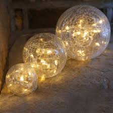 warm white led pre lit glass crackle balls set of 3