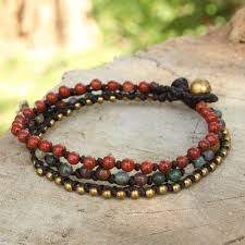 macrame bracelet with beads images Beaded macrame bracelet with jasper agate and brass natural mix jpg
