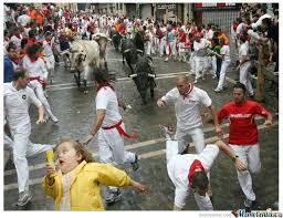 Chubby Girl Running Meme - chubby bubbles girl and the running of the bulls by arobo97 meme