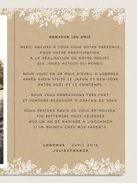 remerciement mariage original cartes de remerciement mariage dentelle assorties aux faire part