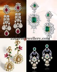 earrings in grt classic diamond earrings by grt jewellery designs jumkas