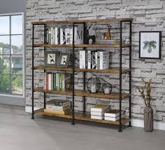 Double Bookcase Coaster 801543 Nutmeg Brown And Black Double Bookcase