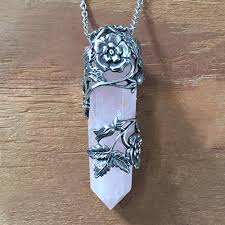 rose quartz rose necklace images Floral wrapped rose quartz wand necklace evil pawn jewelry jpg