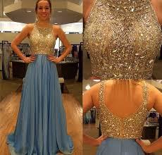 new design gold beaded bodice blue chiffon skirt long prom dresses