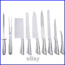 9 piece all stainless steel kitchen cutlery knife set with canvas