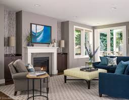 Living Room Blue Sofa Home Transitional Living Room Seattle By