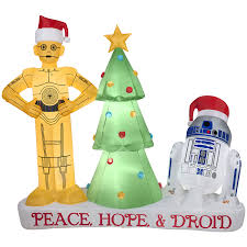 shop gemmy 5 58 ft lighted star wars droids christmas inflatable
